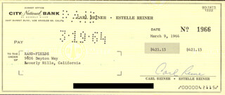 CARL REINER - AUTOGRAPHED SIGNED CHECK 03/09/1964