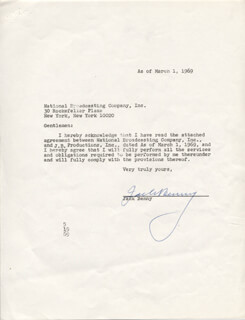 JACK BENNY - DOCUMENT SIGNED 03/01/1969