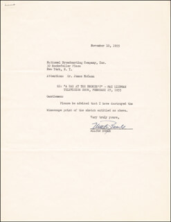 MILTON BERLE - TYPED LETTER SIGNED 11/10/1955
