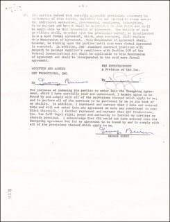 GEORGE BURNS - DOCUMENT DOUBLE SIGNED 03/16/1978