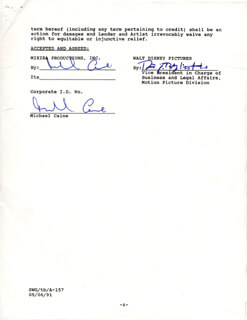MICHAEL CAINE - DOCUMENT DOUBLE SIGNED 01/28/1991  - HFSID 263086
