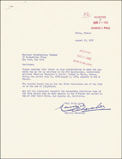 MAURICE CHEVALIER - TYPED LETTER SIGNED 08/16/1956
