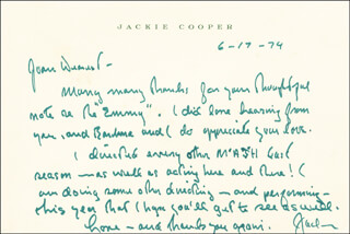 JACKIE COOPER - AUTOGRAPH LETTER SIGNED 06/17/1974