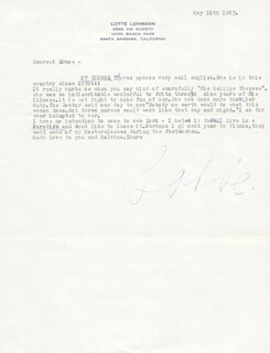 LOTTE LEHMANN - TYPED LETTER SIGNED 05/10/1963