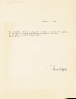 FRANCIS FORD COPPOLA - DOCUMENT SIGNED 11/03/1961