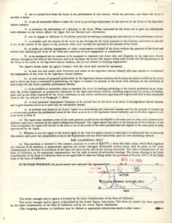 JIMMY SCHNOZZOLA DURANTE - CONTRACT SIGNED 04/19/1963