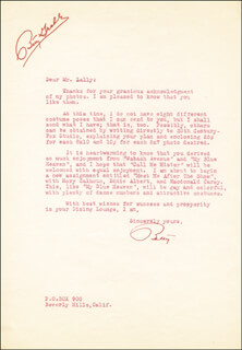 BETTY GRABLE - TYPED LETTER SIGNED