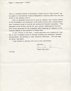 TOMMY LEE JONES - TYPED LETTER SIGNED 07/22/1986