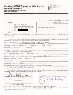 SAM KINISON - CONTRACT SIGNED 12/30/1985