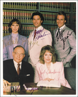 Autographs: L. A. LAW TV CAST - PHOTOGRAPH SIGNED CO-SIGNED BY: HARRY HAMLIN, CORBIN BERNSEN, JILL EIKENBERRY, RICHARD DYSART, MICHELE GREENE