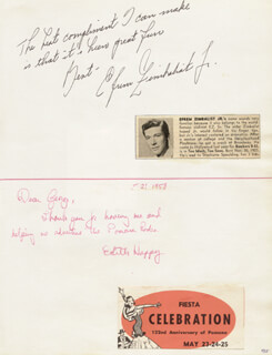 EFREM ZIMBALIST JR. - AUTOGRAPH NOTE SIGNED CO-SIGNED BY: MALA POWERS, EDITH HAPPY