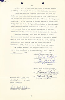 ROBERT REDFORD - DOCUMENT SIGNED 07/31/1969