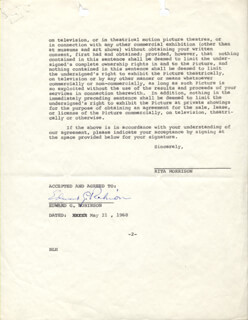 EDWARD G. ROBINSON - DOCUMENT FRAGMENT SIGNED 05/21/1968