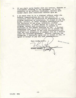 MICKEY ROONEY - DOCUMENT SIGNED 06/27/1983