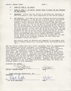 SHARON STONE - DOCUMENT SIGNED 11/06/1985