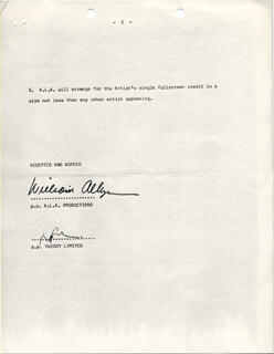 TWIGGY - CONTRACT SIGNED 12/1977 CO-SIGNED BY: WILLIAM ALLYN