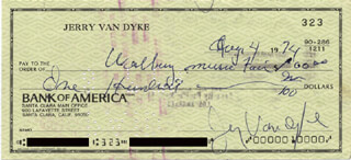 JERRY VAN DYKE - AUTOGRAPHED SIGNED CHECK 08/04/1974