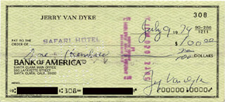 JERRY VAN DYKE - AUTOGRAPHED SIGNED CHECK 07/09/1974