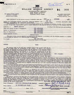 BENNY GOODMAN - DOCUMENT SIGNED 10/18/1951