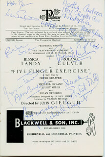 FIVE FINGER EXERCISE PLAY CAST - PROGRAM SIGNED CO-SIGNED BY: BRIAN BEDFORD, JULIET MILLS, MICHAEL BRYANT, ROLAND CULVER, SIR JOHN GIELGUD, JESSICA TANDY