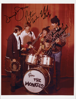THE MONKEES - AUTOGRAPHED SIGNED PHOTOGRAPH CO-SIGNED BY: THE MONKEES (DAVY JONES), THE MONKEES (MICKEY DOLENZ), THE MONKEES (MICHAEL NESMITH), THE MONKEES (PETER TORK)
