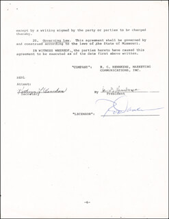 ROD CAREW - DOCUMENT SIGNED 01/01/1978