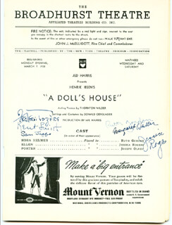 DOLL'S HOUSE PLAY CAST - PROGRAM SIGNED CO-SIGNED BY: KENT SMITH, SAM JAFFE, RUTH GORDON, FREDERIC TOZERS, MARGARET WALLER, JESSICA ROGERS