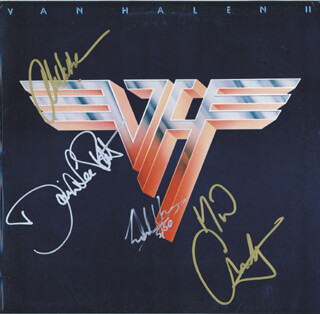 VAN HALEN - RECORD ALBUM COVER SIGNED CO-SIGNED BY: DAVID LEE ROTH, VAN HALEN (MICHAEL ANTHONY), VAN HALEN (ALEX VAN HALEN), VAN HALEN (EDDIE VAN HALEN)