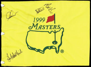 ERNIE ELS - FLAG SIGNED CIRCA 1999 CO-SIGNED BY: JUSTIN LEONARD, JIM FURYK