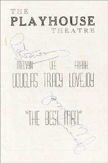 Autographs: BEST MAN PLAY CAST - PROGRAM SIGNED CO-SIGNED BY: LEE TRACY, FRANK LOVEJOY, JOANNE WOODWARD, PAUL NEWMAN, GORE VIDAL, MELVYN DOUGLAS