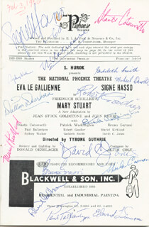 MARY STUART PLAY CAST - PROGRAM SIGNED 1960 CO-SIGNED BY: STAATS COTSWORTH, BRUNO GERUSSI, EVA LE GALLIENNE, SIGNE HASSO, DAVID C. JONES