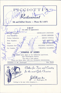 CRITIC'S CHOICE PLAY CAST - PROGRAM SIGNED CO-SIGNED BY: VIRGINIA GILMORE, GEORGANN JOHNSON, EDDIE HODGES, BILLIE ALLEN, FRED BAKER, LOU ANTONIO, MILDRED NATWICK, OTTO PREMINGER, HENRY FONDA