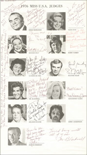 MISS USA JUDGES (1976) - FLYER SIGNED CO-SIGNED BY: ERNEST BORGNINE, CINDY ADAMS, ALICE FAYE, RICHARD ADLER, CLAUDIA MAE McNEIL, MR. (RICHARD SELZER) BLACKWELL, SUSAN OLSEN, MAGGIE DALY, MELANIE KAHANE, ZOLTAN RENDESSY, BARRY FARBER, TOVE BORGNINE - HFSID 263251