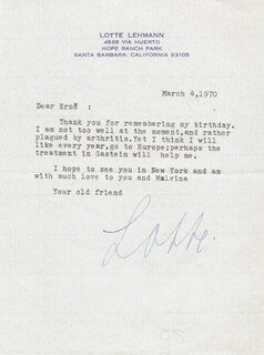LOTTE LEHMANN - TYPED LETTER SIGNED 03/04/1970