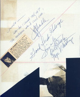 JEFF CHANDLER - AUTOGRAPH NOTE SIGNED CO-SIGNED BY: MARJIE MILLAR, RITA MORENO