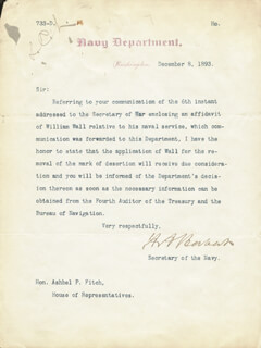 Autographs: HILARY A. HERBERT - TYPED LETTER SIGNED 12/08/1893