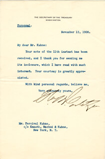 Autographs: GEORGE B. CORTELYOU - TYPED LETTER SIGNED 11/13/1908