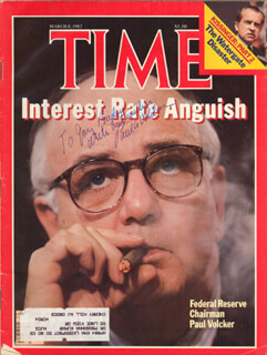 Autographs: PAUL VOLCKER - INSCRIBED MAGAZINE COVER SIGNED