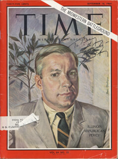 Autographs: CHARLES H. PERCY - INSCRIBED MAGAZINE SIGNED