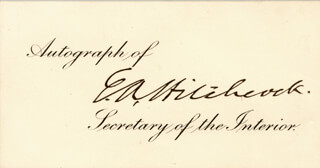 Autographs: ETHAN A. HITCHCOCK - PRINTED CARD SIGNED IN INK