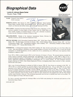 THOMAS D. JONES - BIOGRAPHY SIGNED