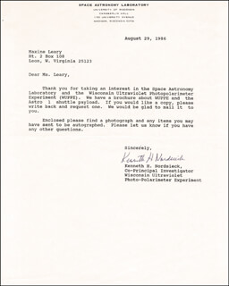 KEN NORDSIECK - TYPED LETTER SIGNED 08/29/1986