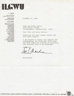 Autographs: SOL C. CHAIKIN - TYPED LETTER SIGNED 10/27/1980