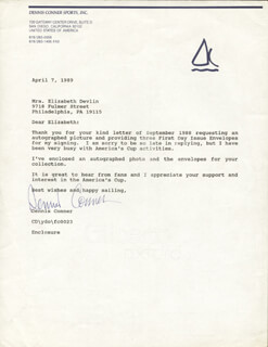 Autographs: DENNIS CONNER - LETTER SIGNED 04/07/1989