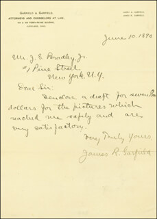 JAMES R. GARFIELD - AUTOGRAPH LETTER SIGNED 06/10/1890