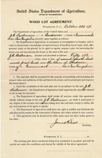 Autographs: JAMES WILSON - DOCUMENT SIGNED 10/28/1898