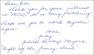 JUDITH RIDLEY - AUTOGRAPH LETTER SIGNED