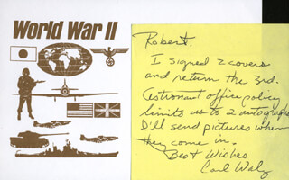 Autographs: COLONEL CARL E. WALZ - AUTOGRAPH NOTE SIGNED