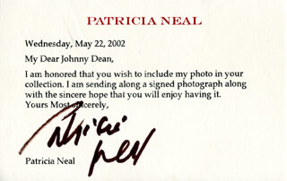 PATRICIA NEAL - TYPED LETTER SIGNED 05/22/2002