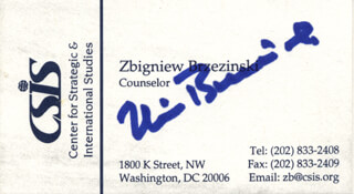 ZBIGNIEW K. BRZEZINSKI - BUSINESS CARD SIGNED